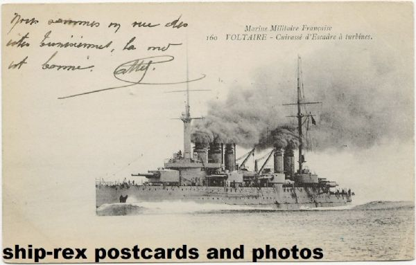 VOLTAIRE (1911, French Navy) postcard (b)